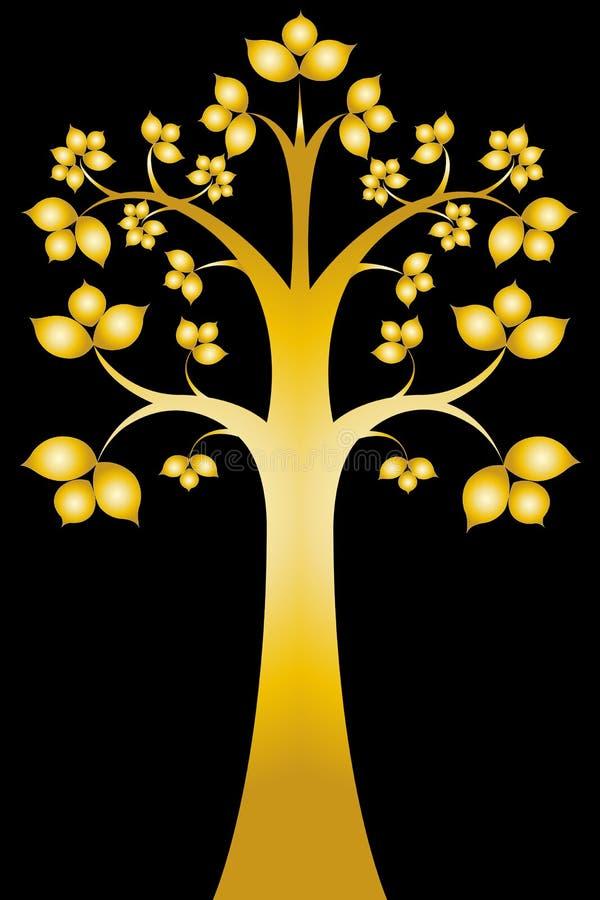 艺术黑色bodhi maha sri泰国结构树 库存例证
