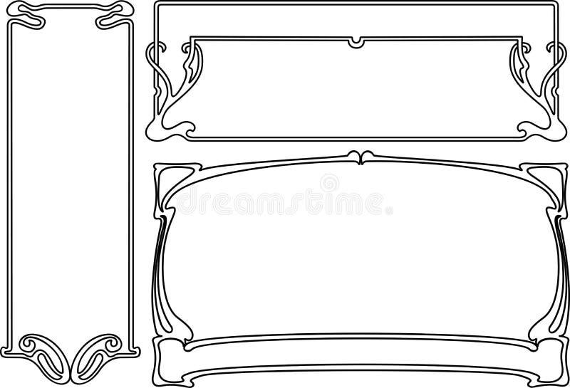 艺术黑色deco空白四个的框架 向量例证