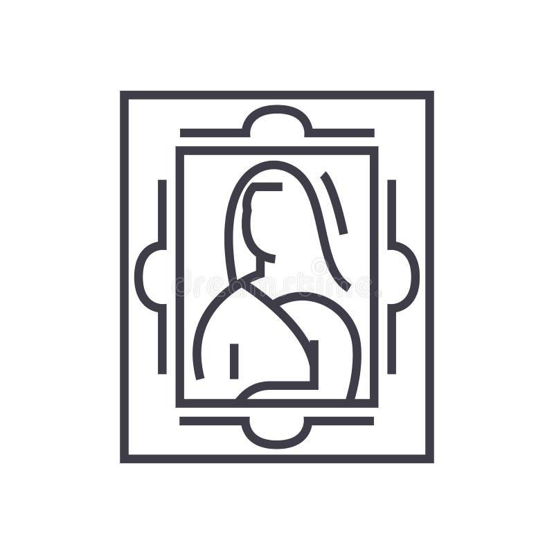 艺术,绘的传染媒介线象,标志,在背景,编辑可能的冲程的例证 皇族释放例证