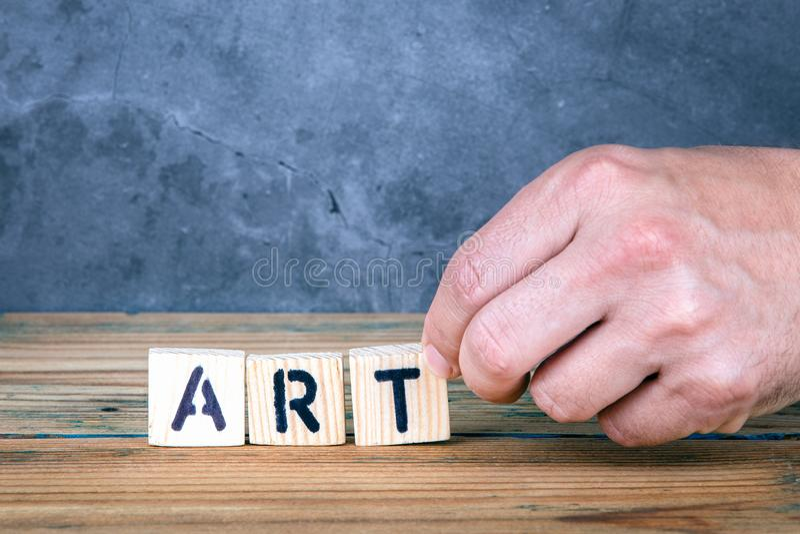 艺术-从木信件的词 库存图片