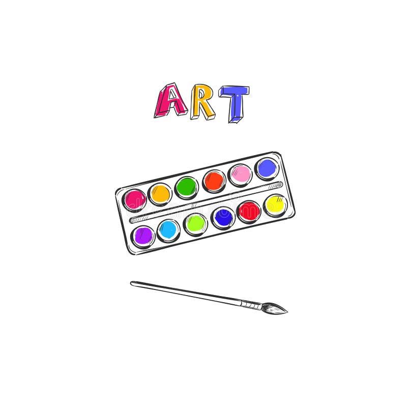 艺术 传染媒介手拉的概念 有画笔的水彩调色板 概念性字法 库存例证