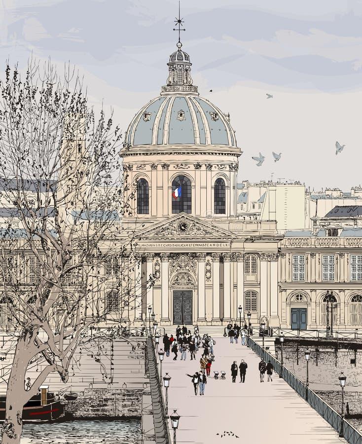 艺术des巴黎pont 库存例证