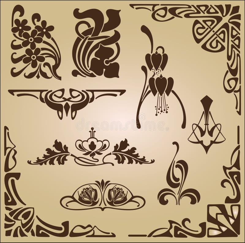 艺术Nouveau元素和角落设计装饰品 向量例证