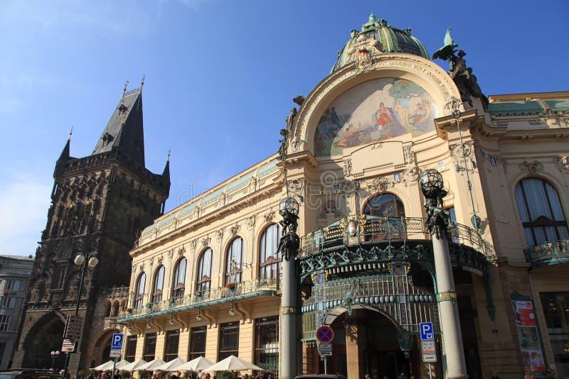 艺术nouveau大厦,市政议院,布拉格,捷克 免版税图库摄影