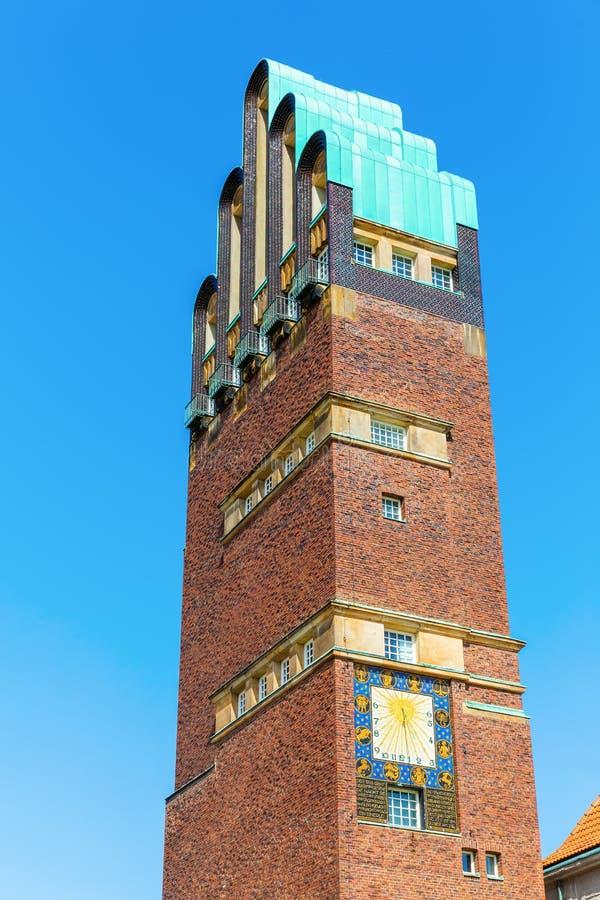 艺术nouveau样式婚礼塔在达姆施塔特,德国 库存照片