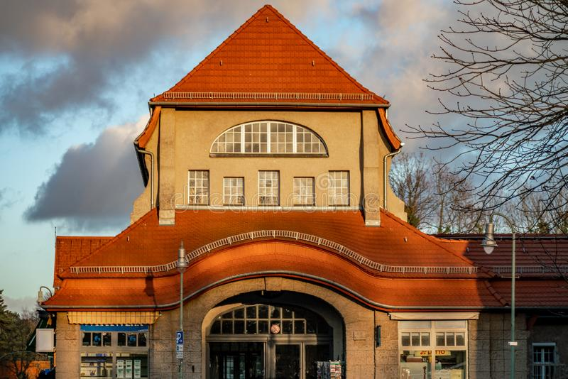 艺术nouveau火车站在柏林Frohnau 免版税库存照片