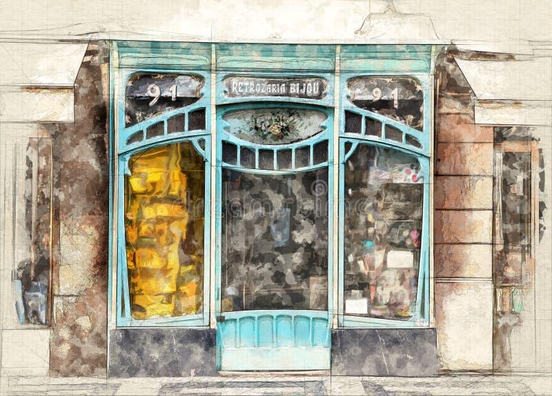 艺术nouveau窗口商店 向量例证