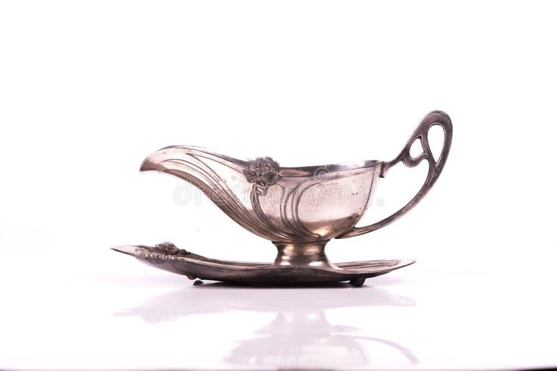 艺术nouveau银杯子调味汁 库存照片
