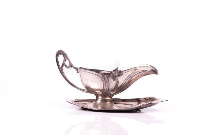 艺术nouveau银杯子调味汁 库存图片