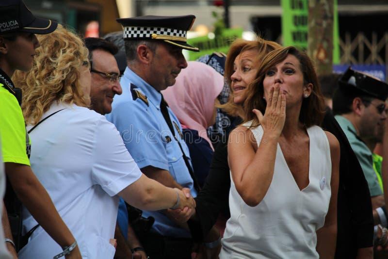 艾丽西亚显示的桑切斯卡马乔反对恐怖主义 免版税库存照片