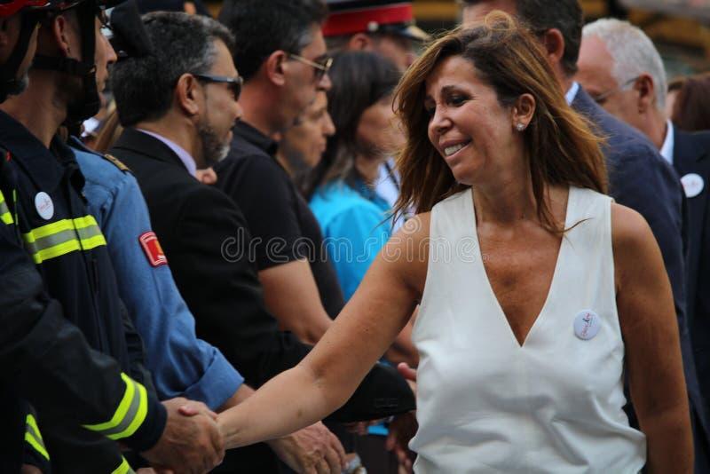 艾丽西亚显示的桑切斯卡马乔反对恐怖主义 库存照片