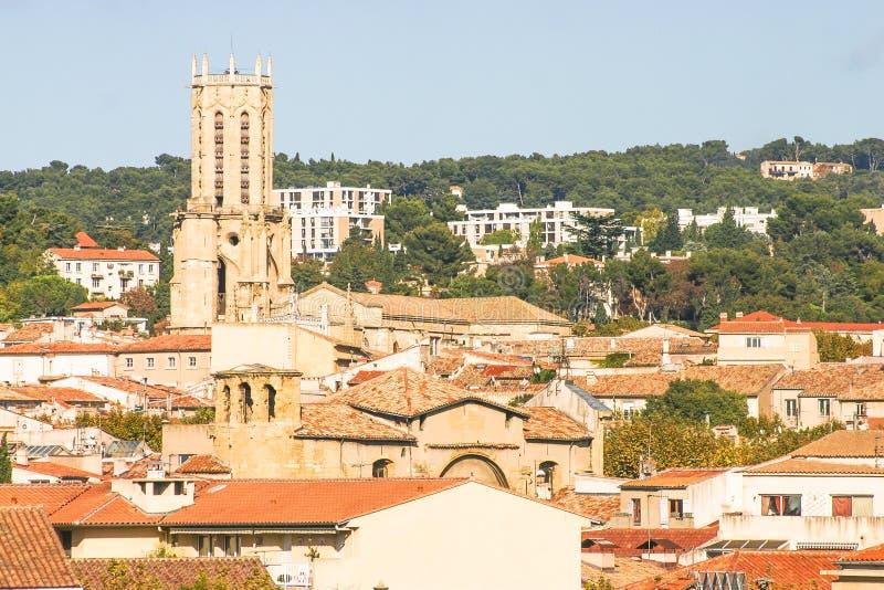 艾克斯普罗旺斯,法国鸟瞰图  库存图片