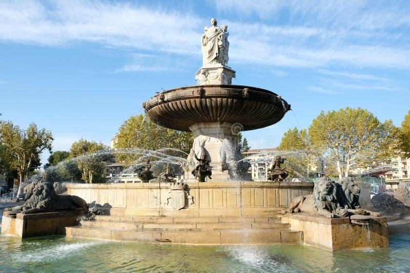 艾克斯普罗旺斯,法国- 2017年10月18日:著名喷泉 库存图片