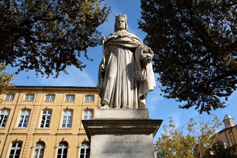 艾克斯普罗旺斯,法国- 2017年10月19日:著名雕象o 免版税库存照片