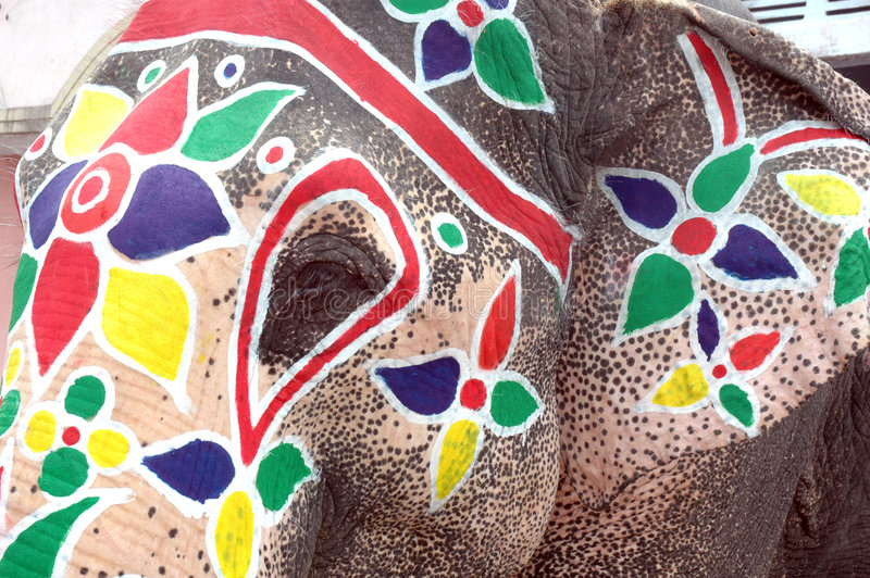 艾哈迈达巴德大象被绘的rathyatra 图库摄影