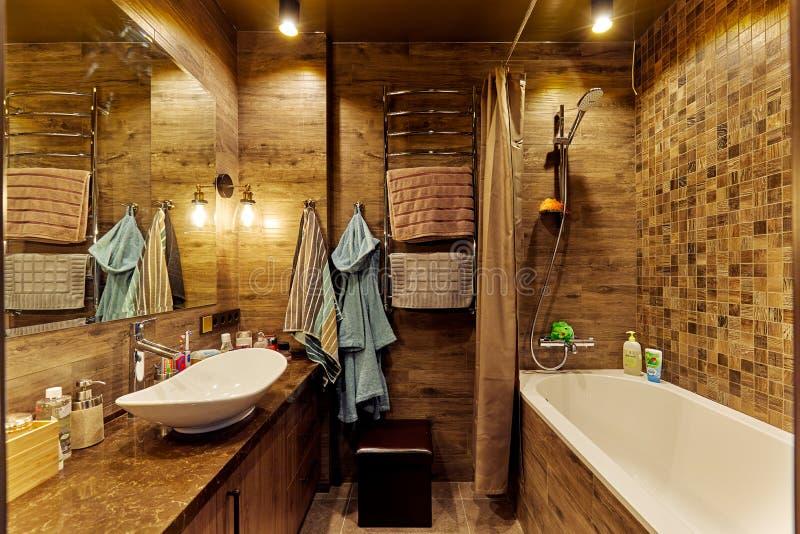 艾恩德霍芬,荷兰- 2018年12月19日:一个当代卫生间的内部有浴缸的,在自然地球 免版税库存图片