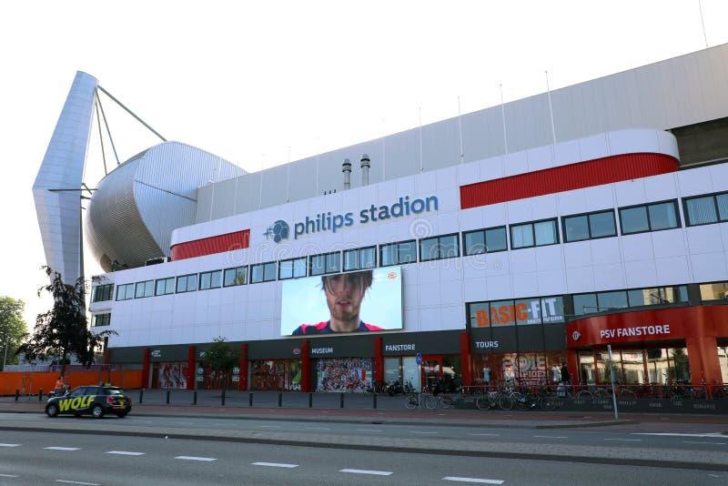 艾恩德霍芬,荷兰- 2018年6月5日:飞利浦大球场是一个橄榄球场在艾恩德霍芬,荷兰,并且它是PSV的家 库存照片