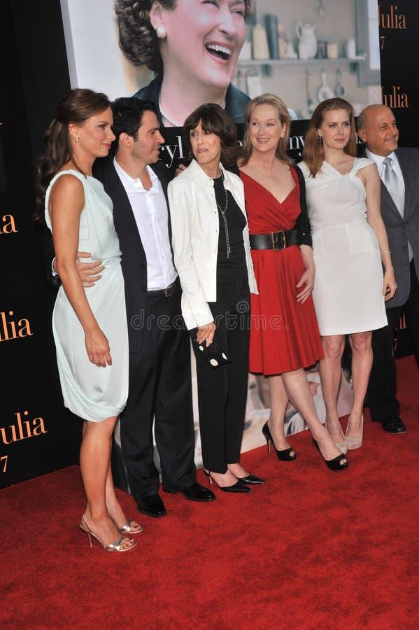 艾米亚当斯,克里斯・墨西拿,玛丽・林恩Rajskub, Meryl Streep, Nora Ephron 免版税库存图片