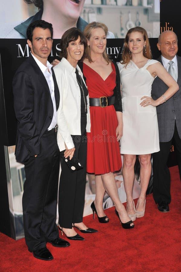 艾米亚当斯,克里斯・墨西拿, Meryl Streep, Nora Ephron 免版税库存图片
