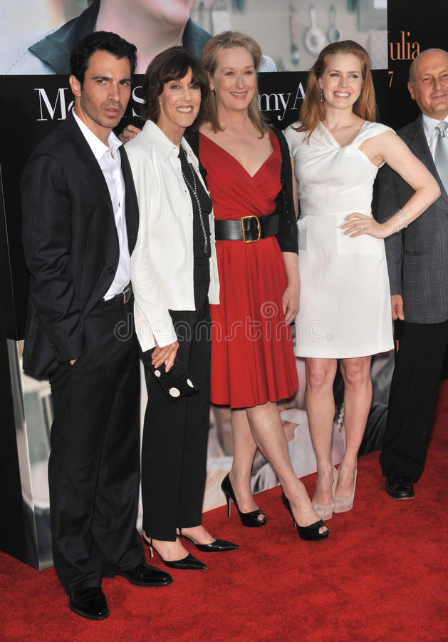 艾米亚当斯,克里斯・墨西拿, Meryl Streep, Nora Ephron 免版税图库摄影