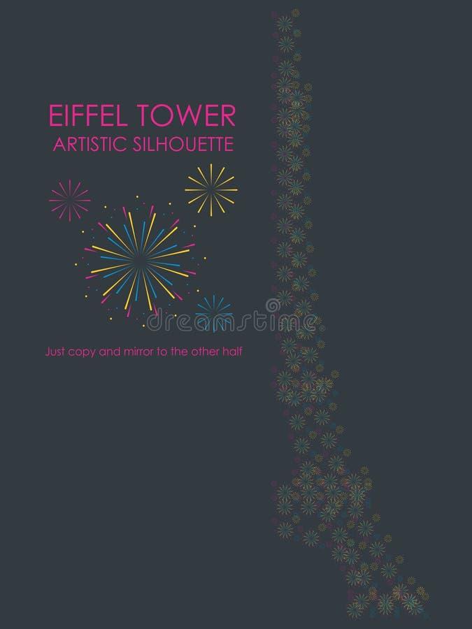 艾菲尔铁塔艺术性的剪影 向量例证