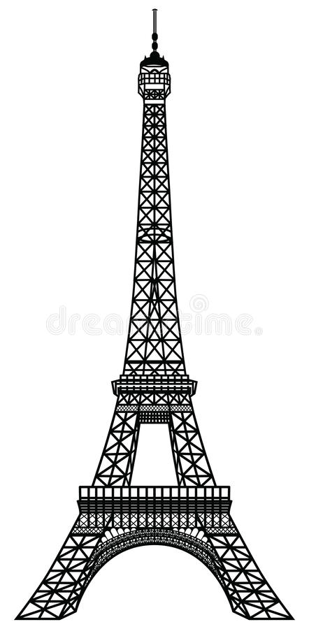 艾菲尔铁塔黑色剪影 皇族释放例证