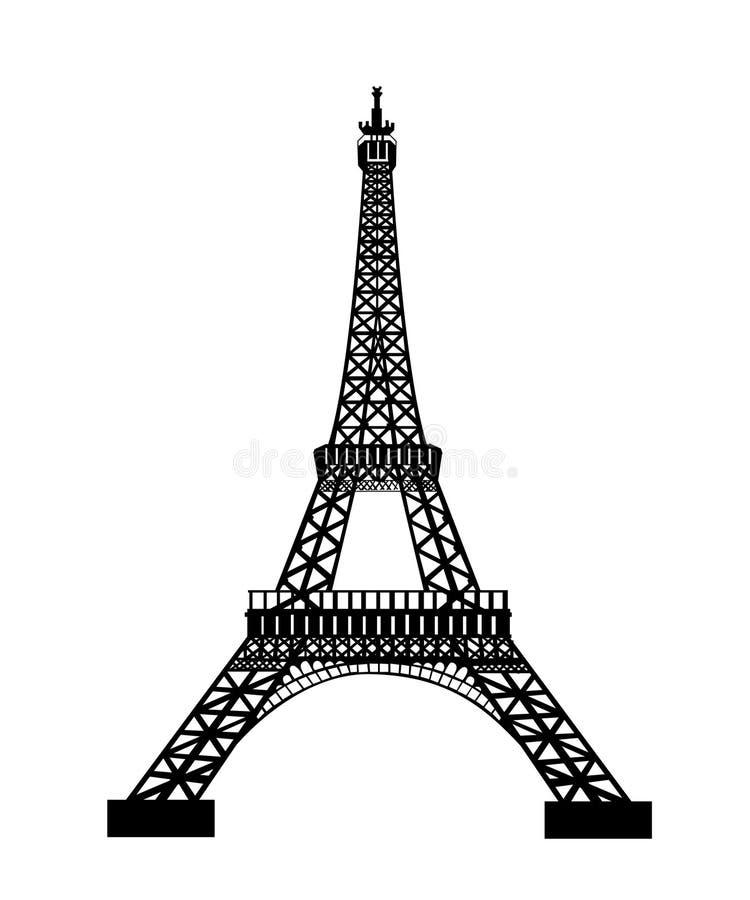 艾菲尔铁塔黑色剪影 向量例证