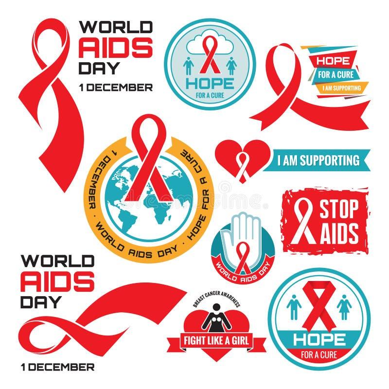 艾滋病-传染媒介证章汇集 世界艾滋病日- 12月1日 库存例证