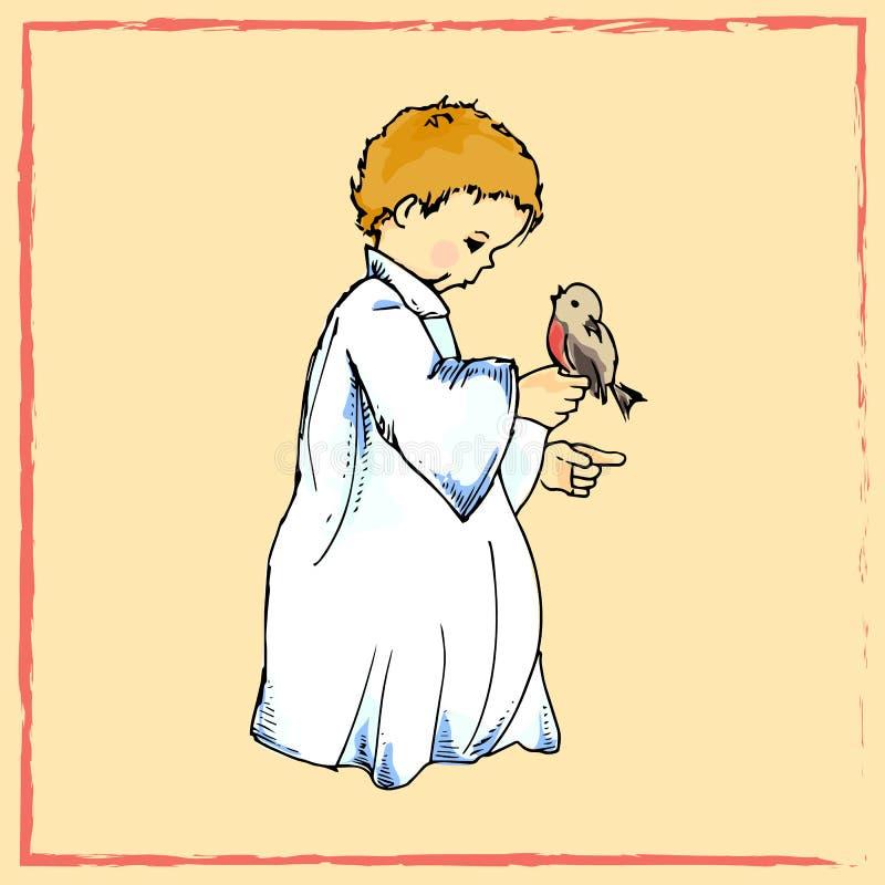节假日例证 与鸟的一点天使 袋子看板卡圣诞节霜klaus ・圣诞老人天空 皇族释放例证
