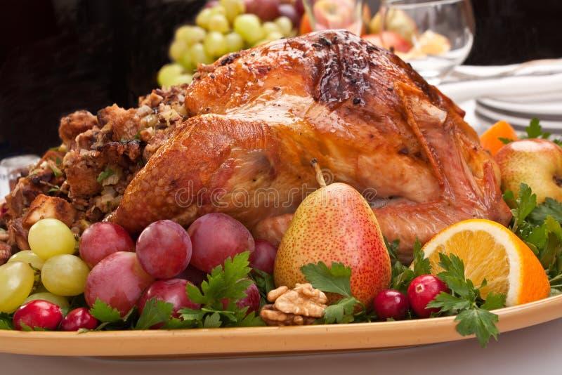 节假日烤了被充塞的火鸡 免版税图库摄影