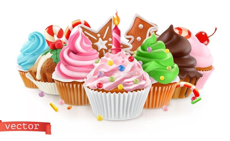 节假日 点心甜点 蛋糕,杯形蛋糕 3d向量 向量例证
