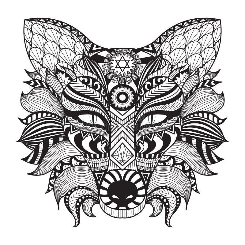 细节在白色背景隔绝的zentangle狐狸 向量例证