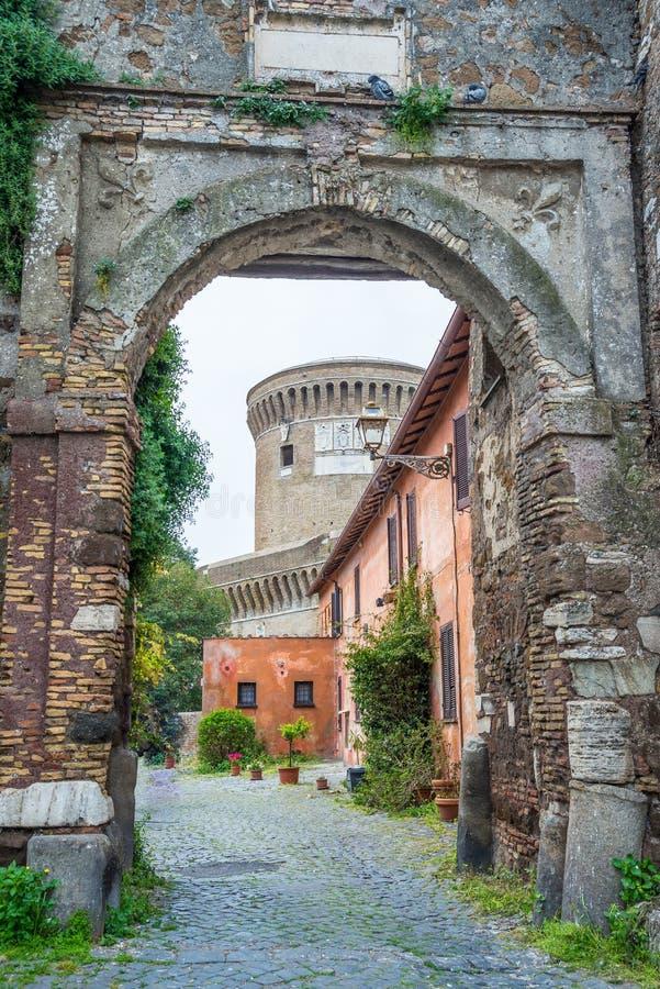 细节在老镇Ostia,罗马,意大利 免版税库存照片
