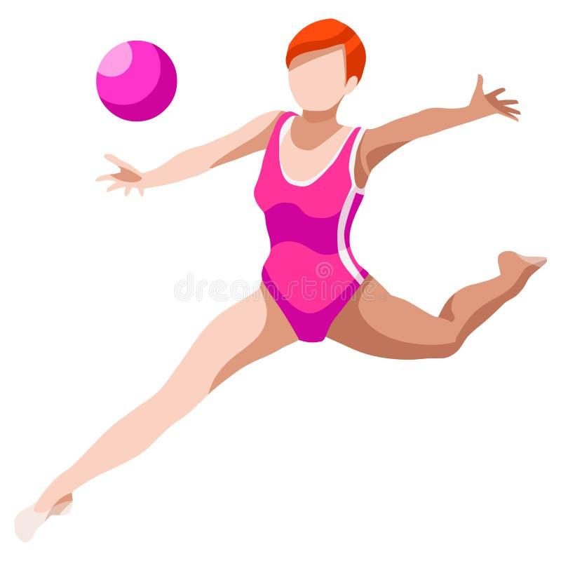 节奏体操球夏天比赛象集合 3D等量GymnastOlympics体育冠军国际竞争 体育运动 皇族释放例证