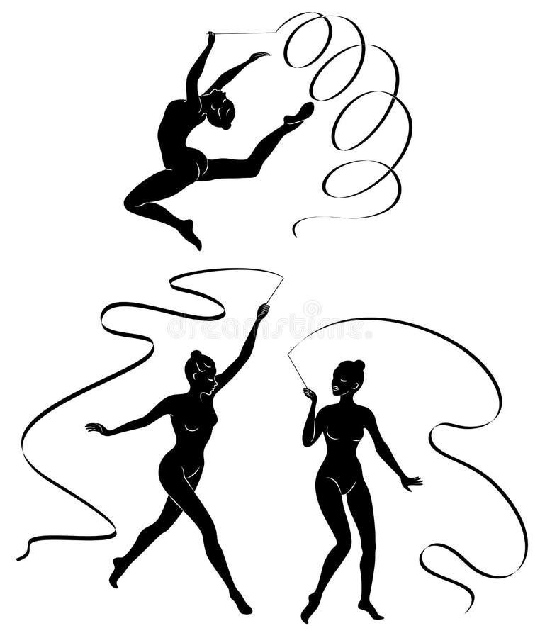 ?? 节奏体操 一个女孩的剪影有丝带的 美丽的体操运动员妇女是亭亭玉立和年轻的 皇族释放例证