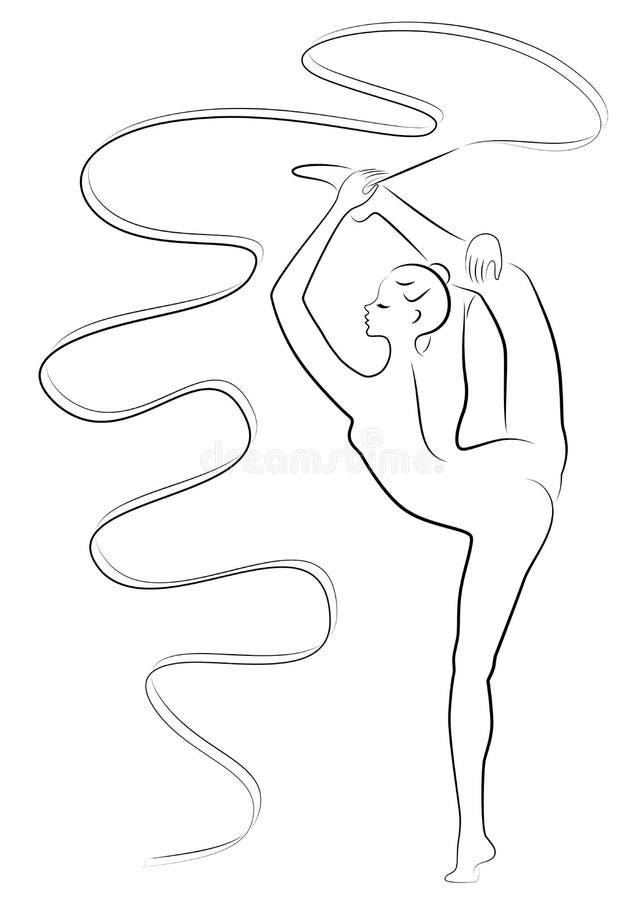 节奏体操 一个女孩的剪影有丝带的 美丽的体操运动员妇女是亭亭玉立和年轻的 r 库存例证