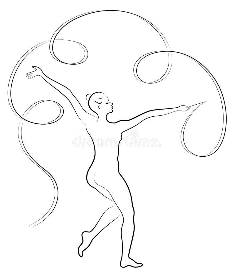 节奏体操 一个女孩的剪影有丝带的 美丽的体操运动员妇女是亭亭玉立和年轻的 ?? 库存例证