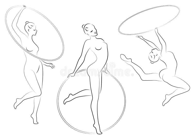 ?? 节奏体操 一个女孩的剪影有箍的 美丽的体操运动员妇女是亭亭玉立和年轻的 ?? 向量例证
