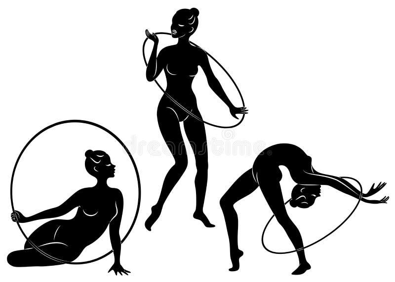 ?? 节奏体操 一个女孩的剪影有箍的 美丽的体操运动员妇女是亭亭玉立和年轻的 ?? 库存例证