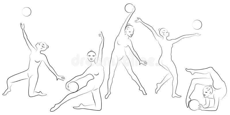 ?? 节奏体操 一个女孩的剪影有箍的 美丽的体操运动员妇女是亭亭玉立和年轻的 ?? 皇族释放例证