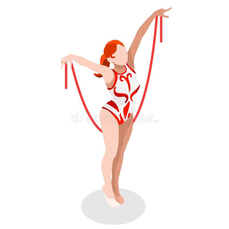 节奏体操绳索夏天比赛象集合 3D等量体操运动员 库存例证