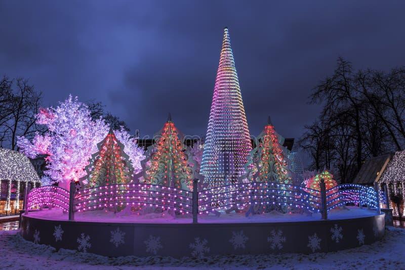 节日到圣诞节`,音乐森林,莫斯科,普希金广场的`旅途, 免版税库存图片