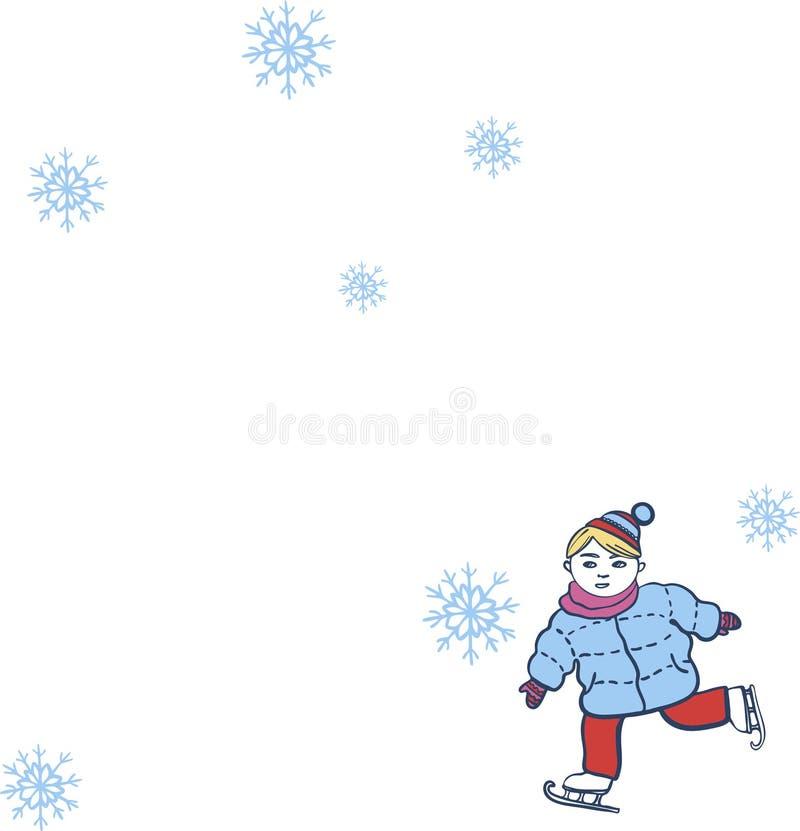 节日快乐与男孩滑冰的传染媒介例证的卡片 向量例证