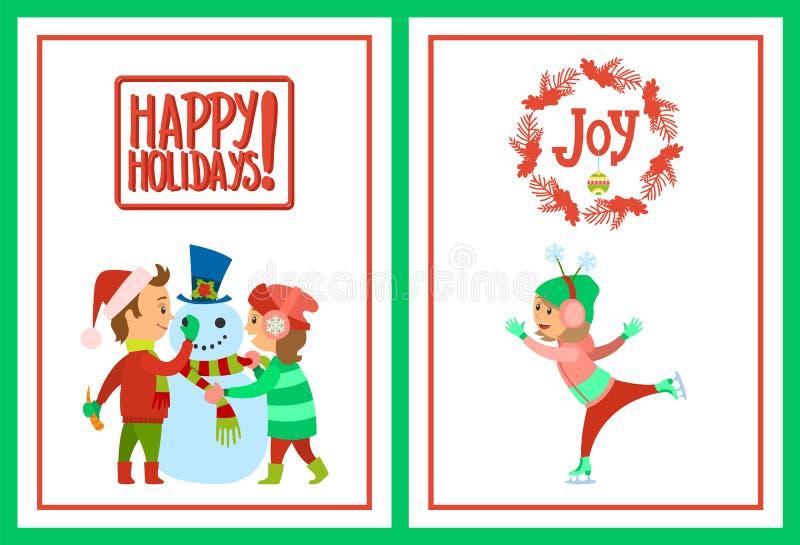 节日快乐修造雪人的明信片孩子 向量例证