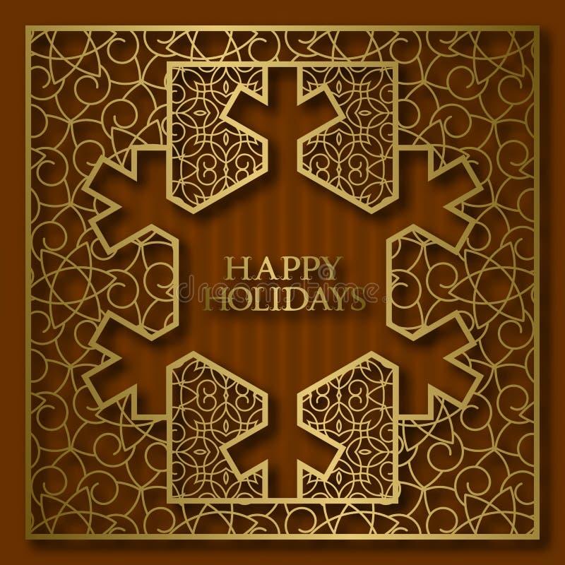 节日快乐贺卡与金黄装饰框架的盖子背景在雪花形状 皇族释放例证
