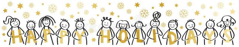 节日快乐,圣诞快乐,笑愉快的棍子的形象微笑和,拿着金黄信件,与雪花,星,横幅 皇族释放例证