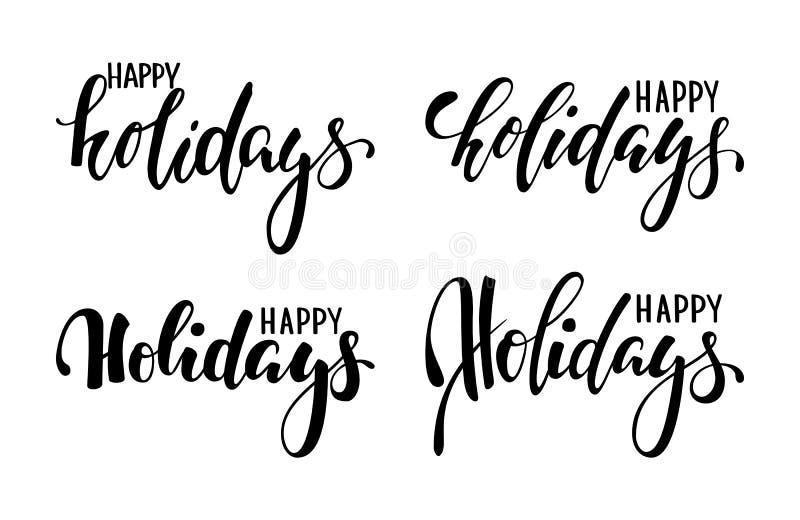 节日快乐 手拉的创造性的书法,刷子笔字法 设计假日贺卡和邀请快活 免版税库存照片