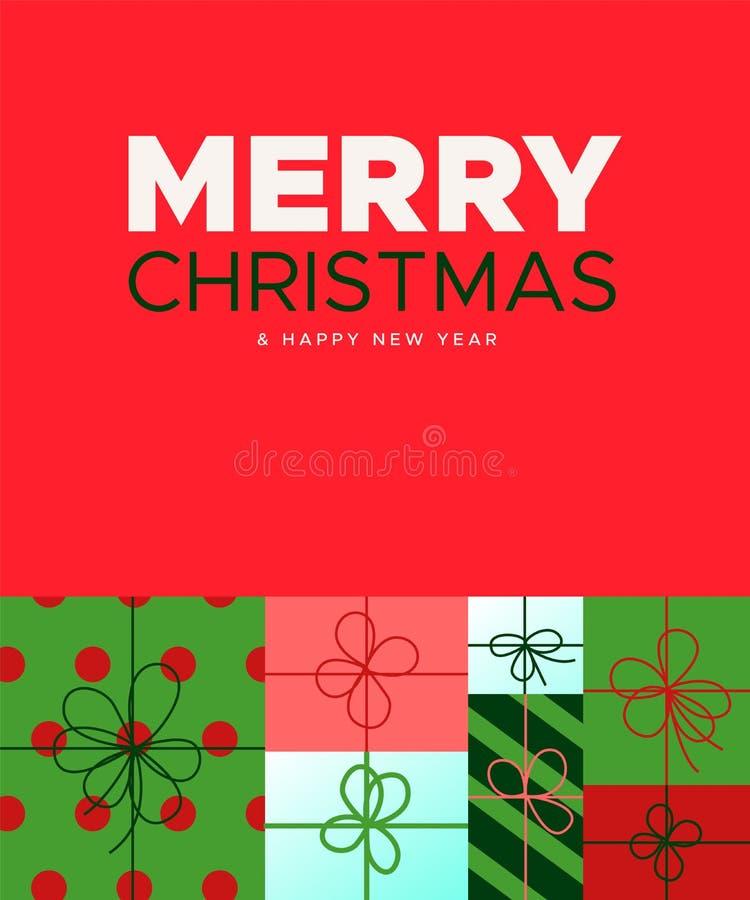 节日礼物箱子圣诞节和新年卡片  库存例证