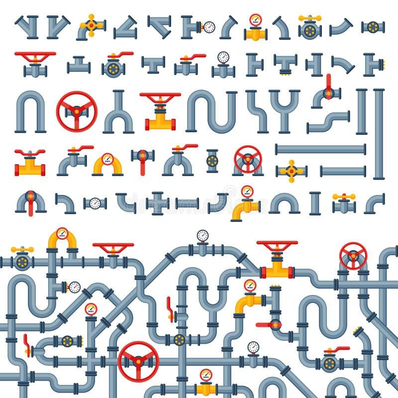 细节用管道输送水管产业排气阀建筑和油工业压力的不同的类型汇集 向量例证