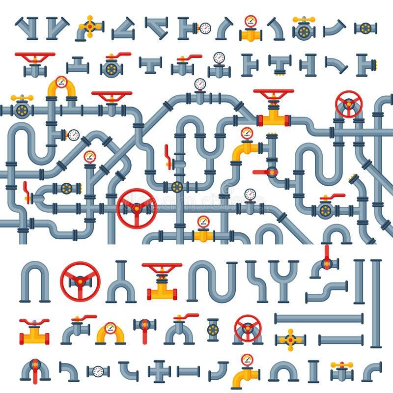 细节用管道输送水管产业排气阀建筑和油工业压力的不同的类型汇集 皇族释放例证